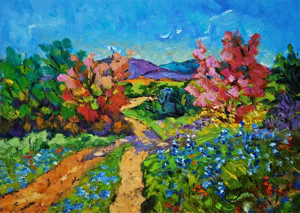 """Hill Country Spring Wildflowers"" original fine art by Liz Zornes"
