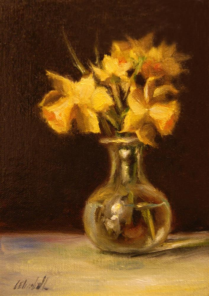 """Yellow Daffodils,  Oil on 5x7 Linen Panel"" original fine art by Carolina Elizabeth"