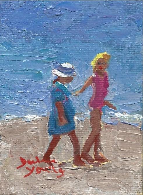 """931 Beach Girls, ogden Point, oil on board, 2.5x3.5"" original fine art by Darlene Young"