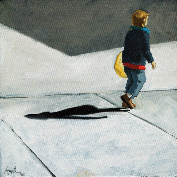 """Little Helper -  figurative oil painting"" original fine art by Linda Apple"