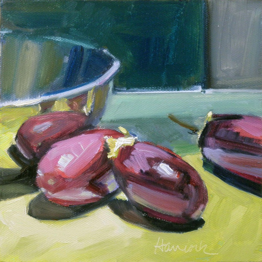 """Silver Bowl and Eggplant on Chartreuse"" original fine art by Gretchen Hancock"