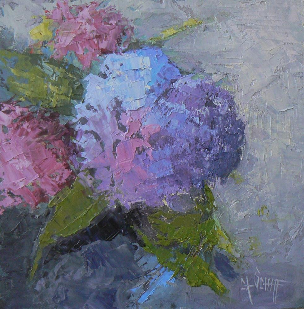 """Daily Painting, Hydrangea 10x10 Palette Knife"" original fine art by Carol Schiff"