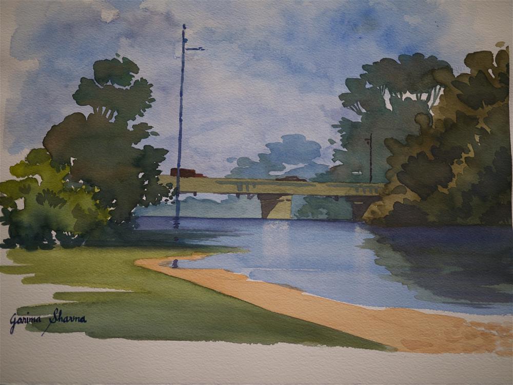 """Bridge Over Calm River"" original fine art by Garima Heath"