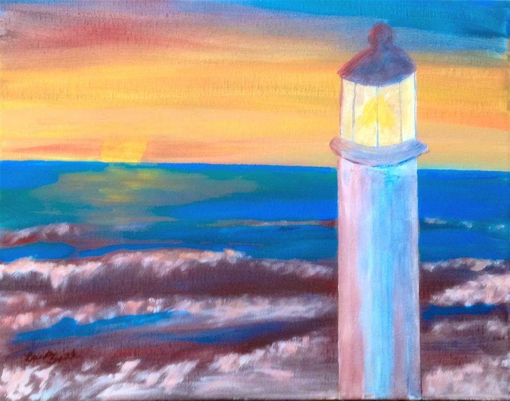"""Sunset at the Lighthouse"" original fine art by Brenda Smith"