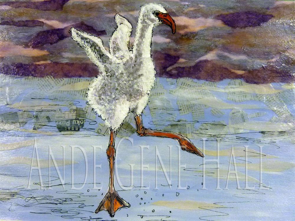"""""""Baby Flamingo"""" original fine art by Ande Hall"""