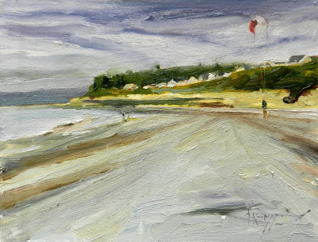 """Kite on Edmonds Beach  plein air, oil , landscape painting by Robin Weiss"" original fine art by Robin Weiss"