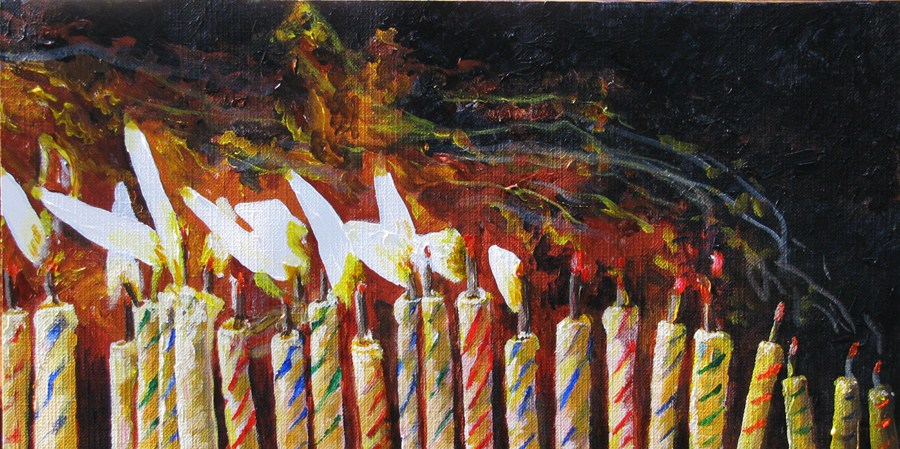 """Birthday Candles"" original fine art by Nan Johnson"