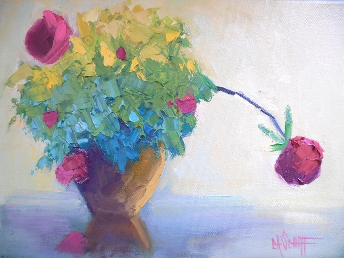 """Floral Still Life, Rose Painting, Small Oil Painting, Daily Painting, 9x12 Floral Still Life"" original fine art by Carol Schiff"