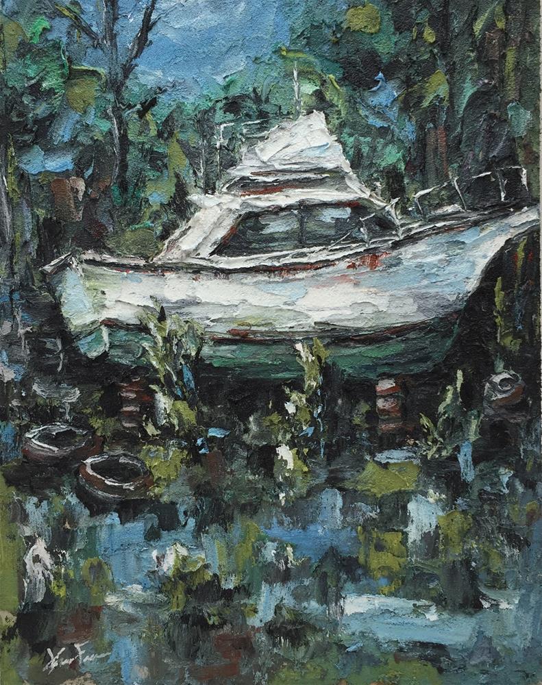 """Behind The Boathouse"" original fine art by Ken Fraser"