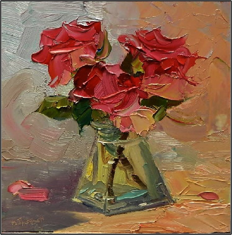 """Pas de Trois, 8x8 , oil on board, rose study, pink roses, three roses, roses in glass vase"" original fine art by Maryanne Jacobsen"