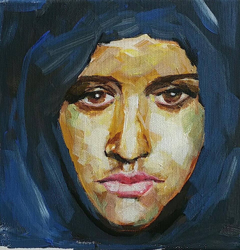 """The sad eyes of a refugee women"" original fine art by Sabine Hüning"