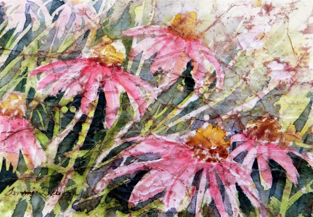 """Purple Coneflower Batik"" original fine art by Tammie Dickerson"