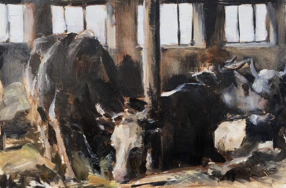"""""""Resting cows"""" original fine art by Philine van der Vegte"""