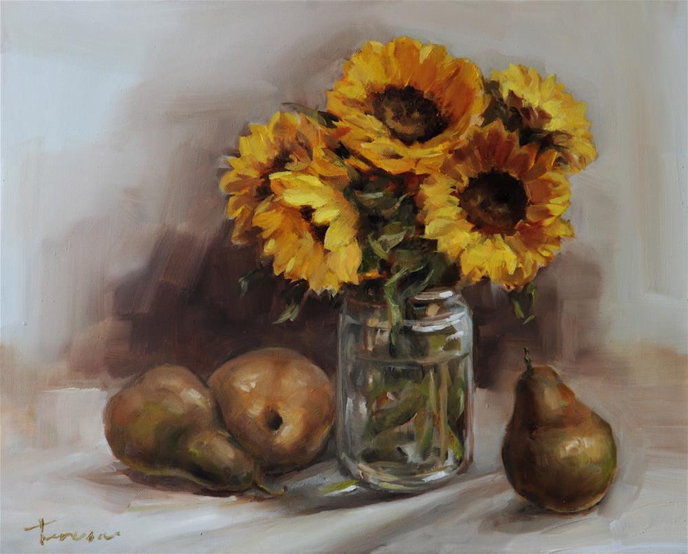 """Still life with sun flower"" original fine art by Teresa Yoo"