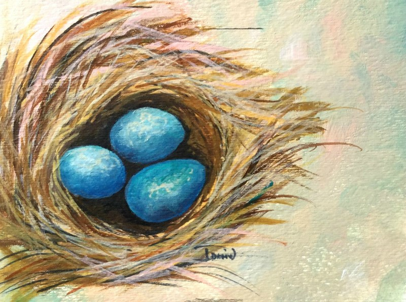 """Robin's Blue Eggs IV"" original fine art by Torrie Smiley"