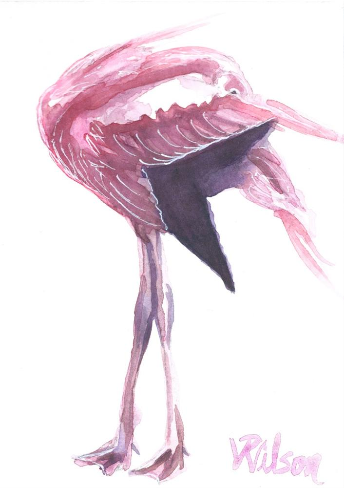 """Full Flamingo Study III"" original fine art by D. Renee Wilson"