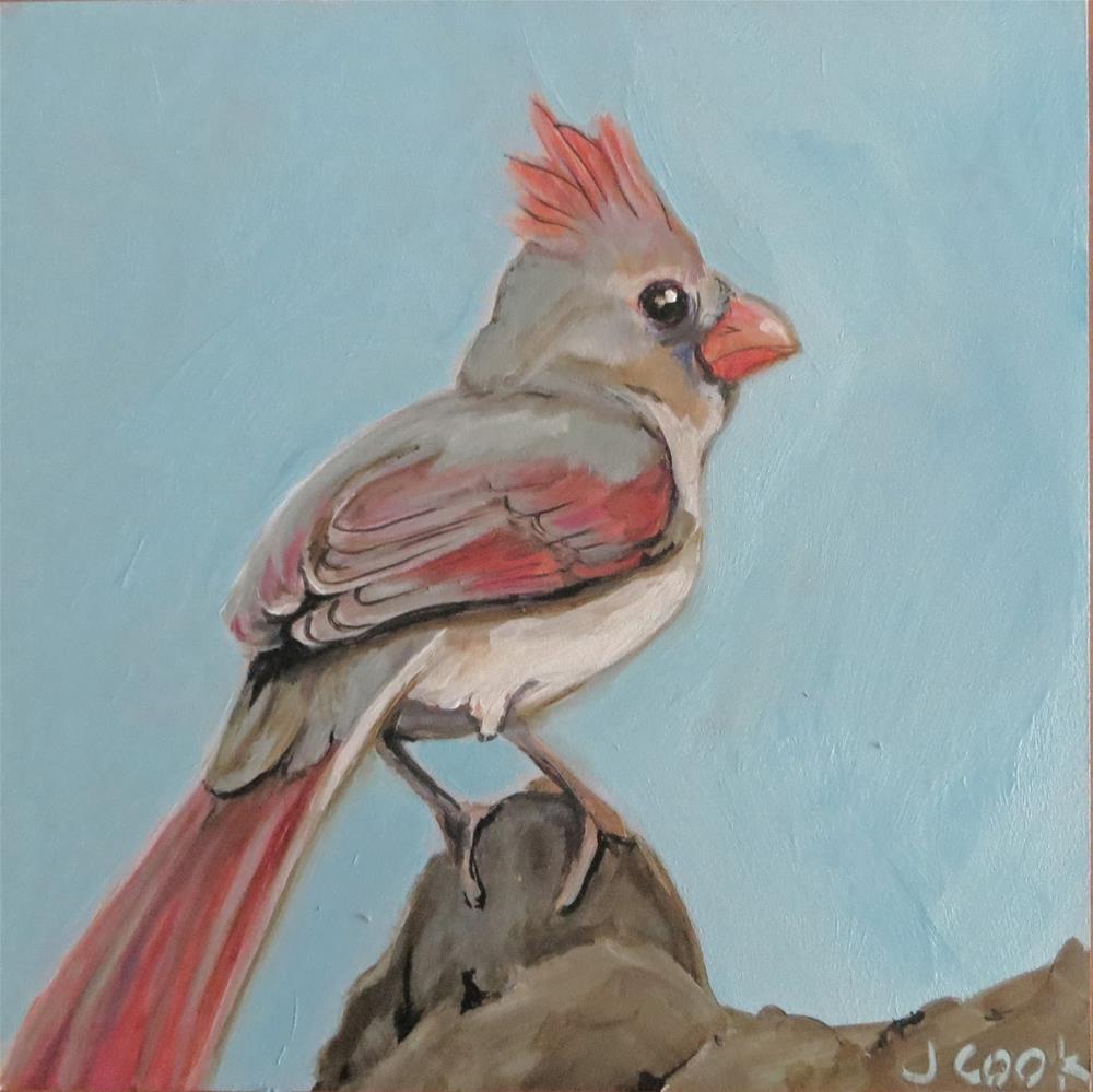 """Birdie 4"" original fine art by Janice Cook"