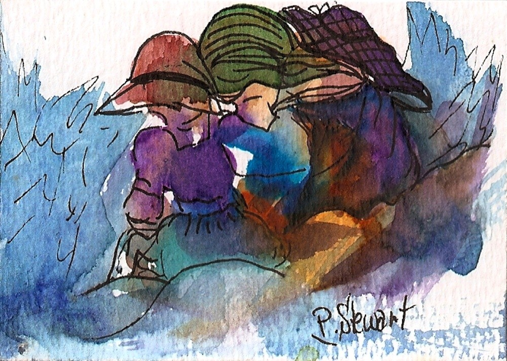 """ACEO A Cold Day at the Beach"" original fine art by Penny Lee StewArt"
