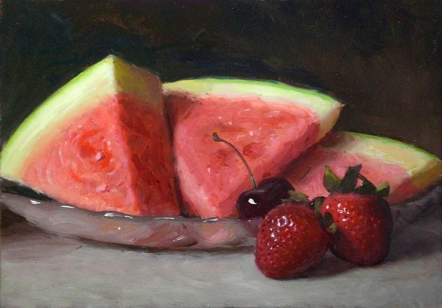 """Watermelon and Strawberries"" original fine art by Debra Becks Cooper"