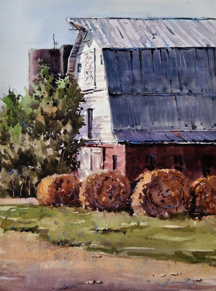 """Round the Hay Bales"" original fine art by Brienne M Brown"