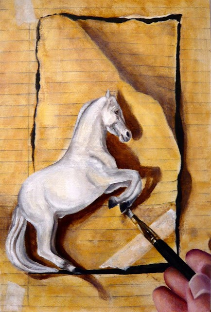 """Trompe l'oeil horse with brush and hand"" original fine art by Karen Robinson"