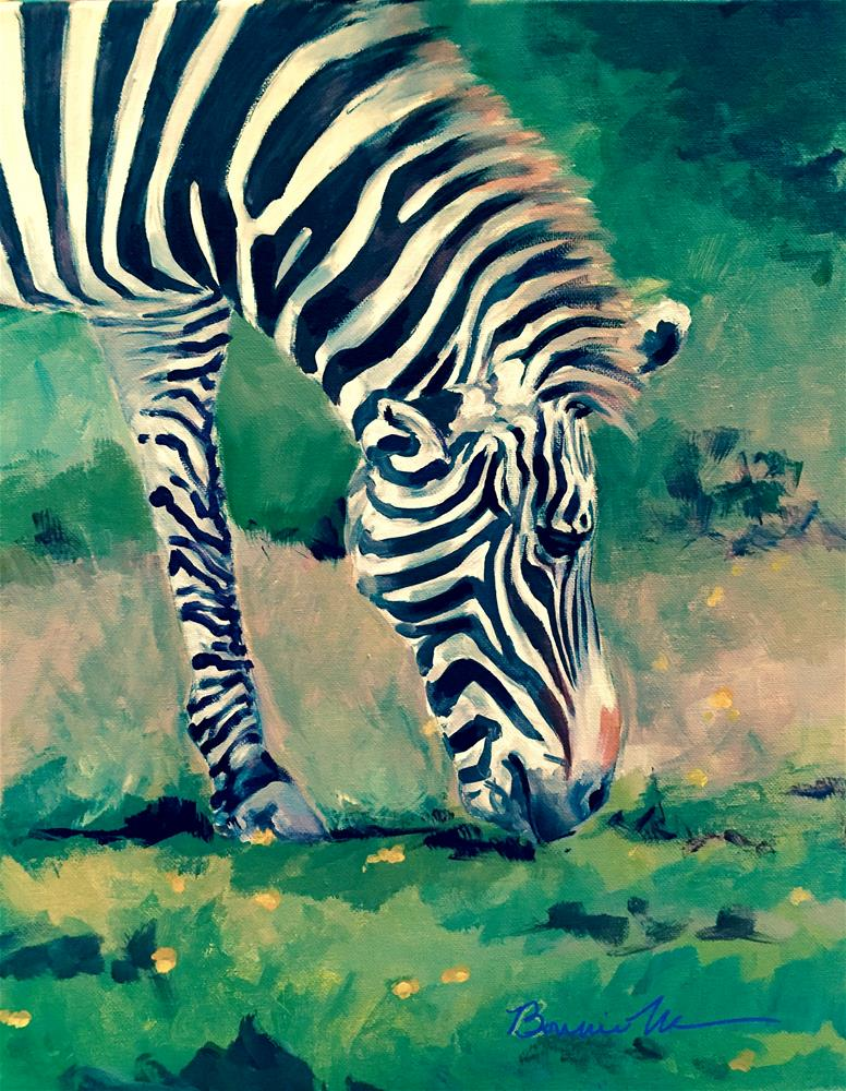 """Zebra at Ease"" original fine art by Bonnie Masdeu"