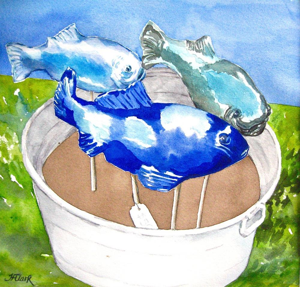 """Fish in a Barrel"" original fine art by Judith Freeman Clark"