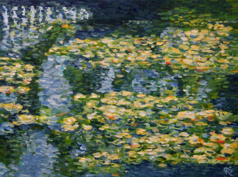 """""""Copenhagen Water Lilies"""" original fine art by Roberta Schmidt"""