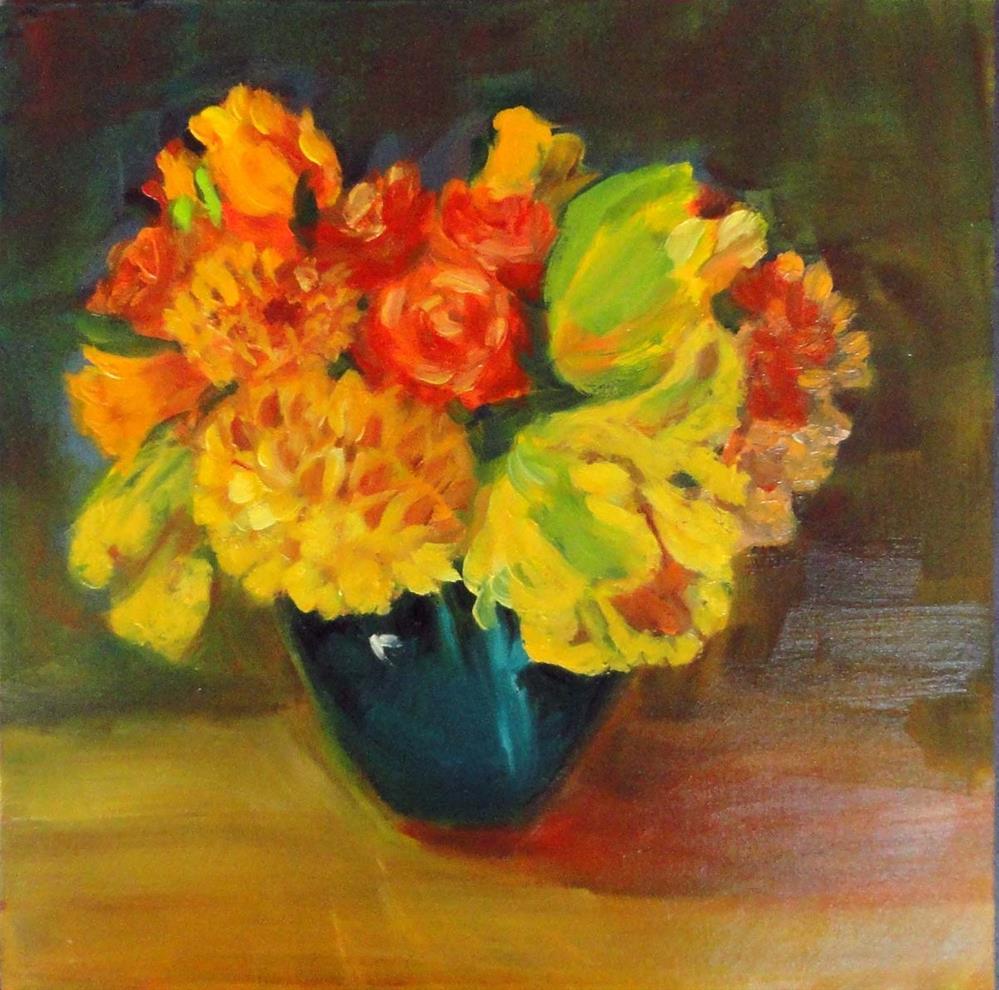 """""""Roses, Dahlias, & Parrot Tulips"""" original fine art by Cietha Wilson"""