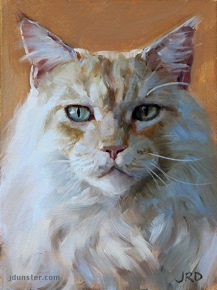 """Big White Cat"" original fine art by J. Dunster"