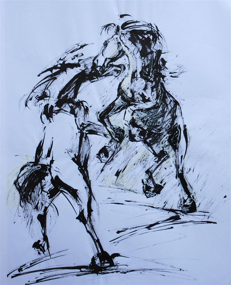 """""""Fighting"""" original fine art by Olga Touboltseva-Lefort"""