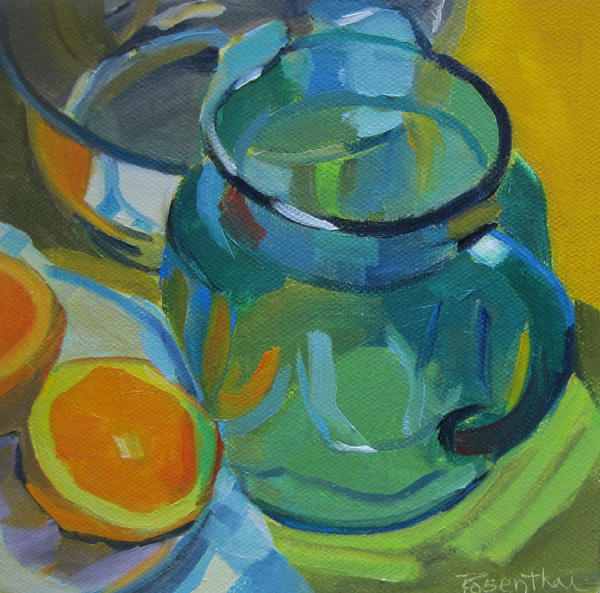 """Blue Pitcher and Orange"" original fine art by Robin Rosenthal"