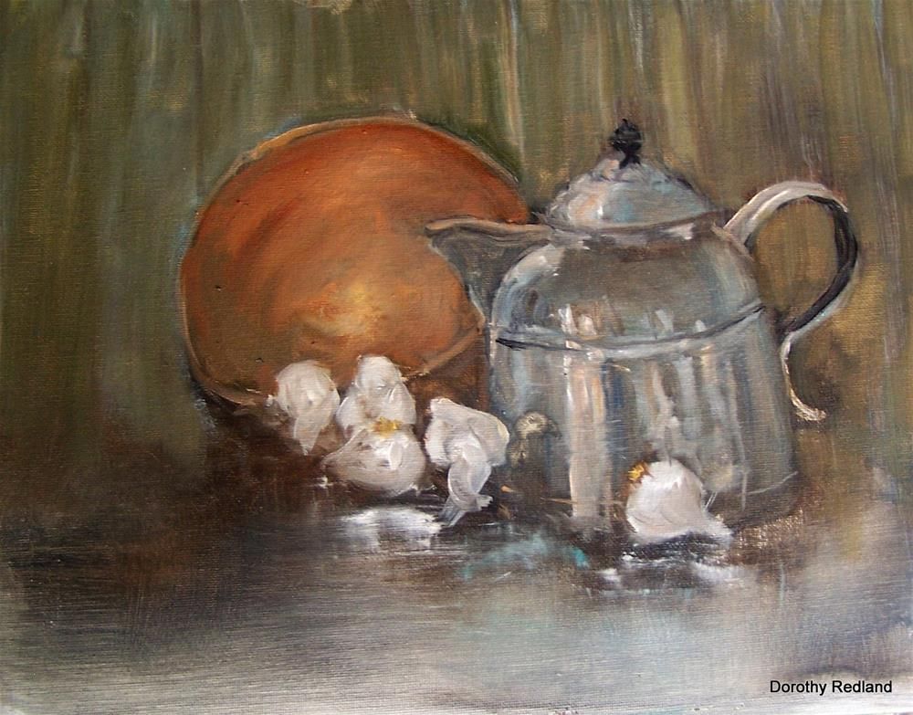 """garlic with copper pot"" original fine art by Dorothy Redland"