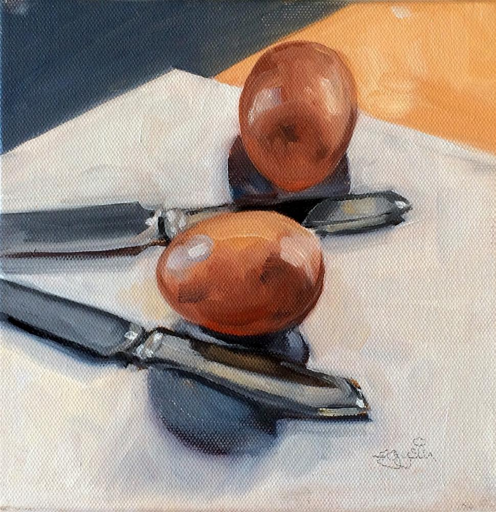 """""""K -  is for Knives and Brown Eggs"""" original fine art by Suzanne Gysin"""