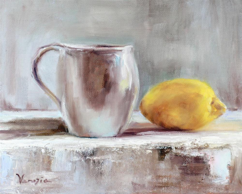 Still Life Painting Tea with Lemon original fine art by Carrie Venezia