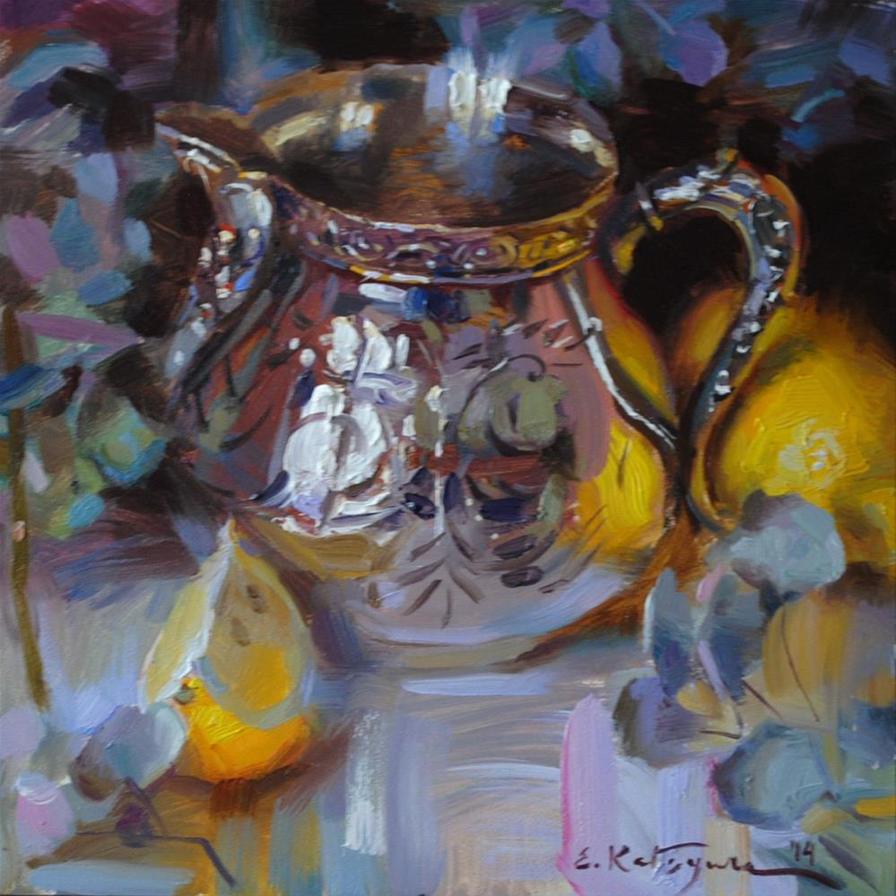 """Silver and Lemon"" original fine art by Elena Katsyura"
