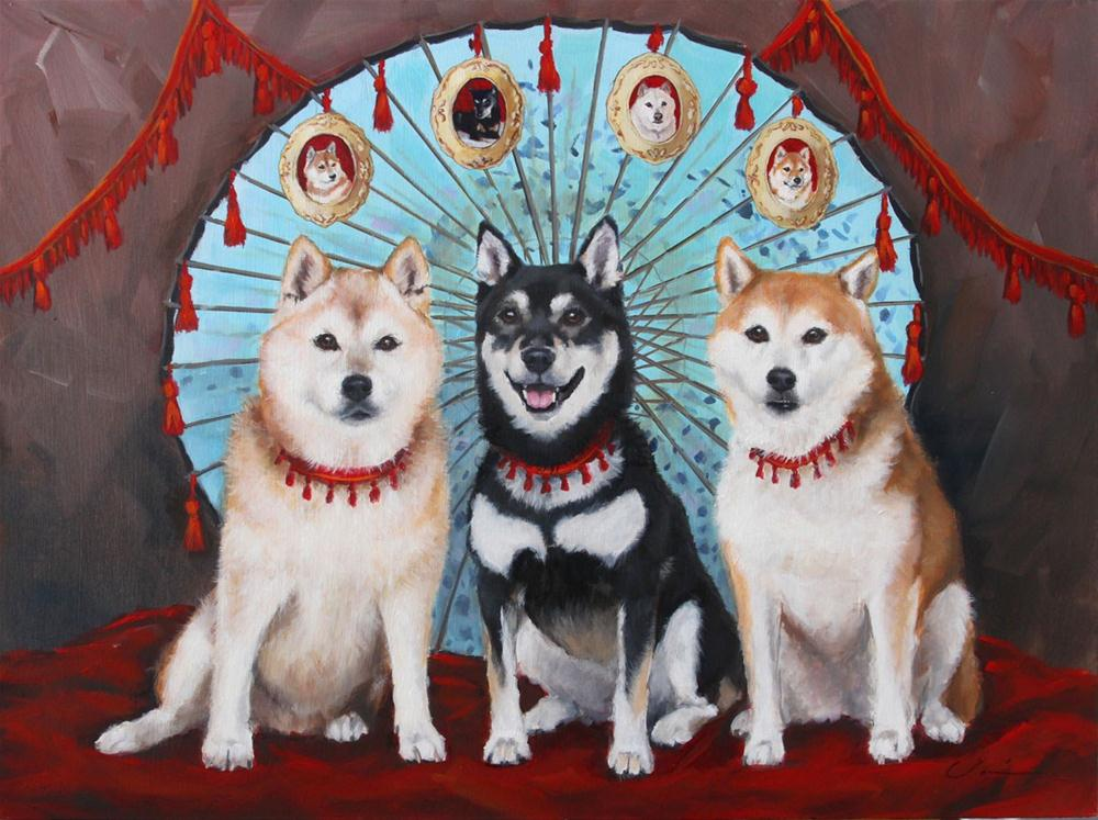 """Three Shibas Commission"" original fine art by Clair Hartmann"