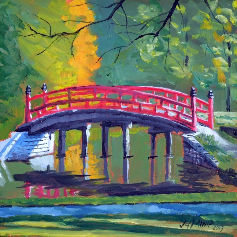"""Red Bridge, Japanese Garden"" original fine art by Jeff Atnip"