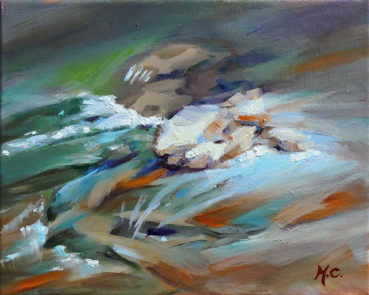 """Rocks in flow"" original fine art by Michelle chen"