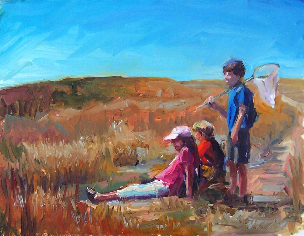 """""""Butterfly Catchers,figures,oil on canvas,11x14,price$795"""" original fine art by Joy Olney"""