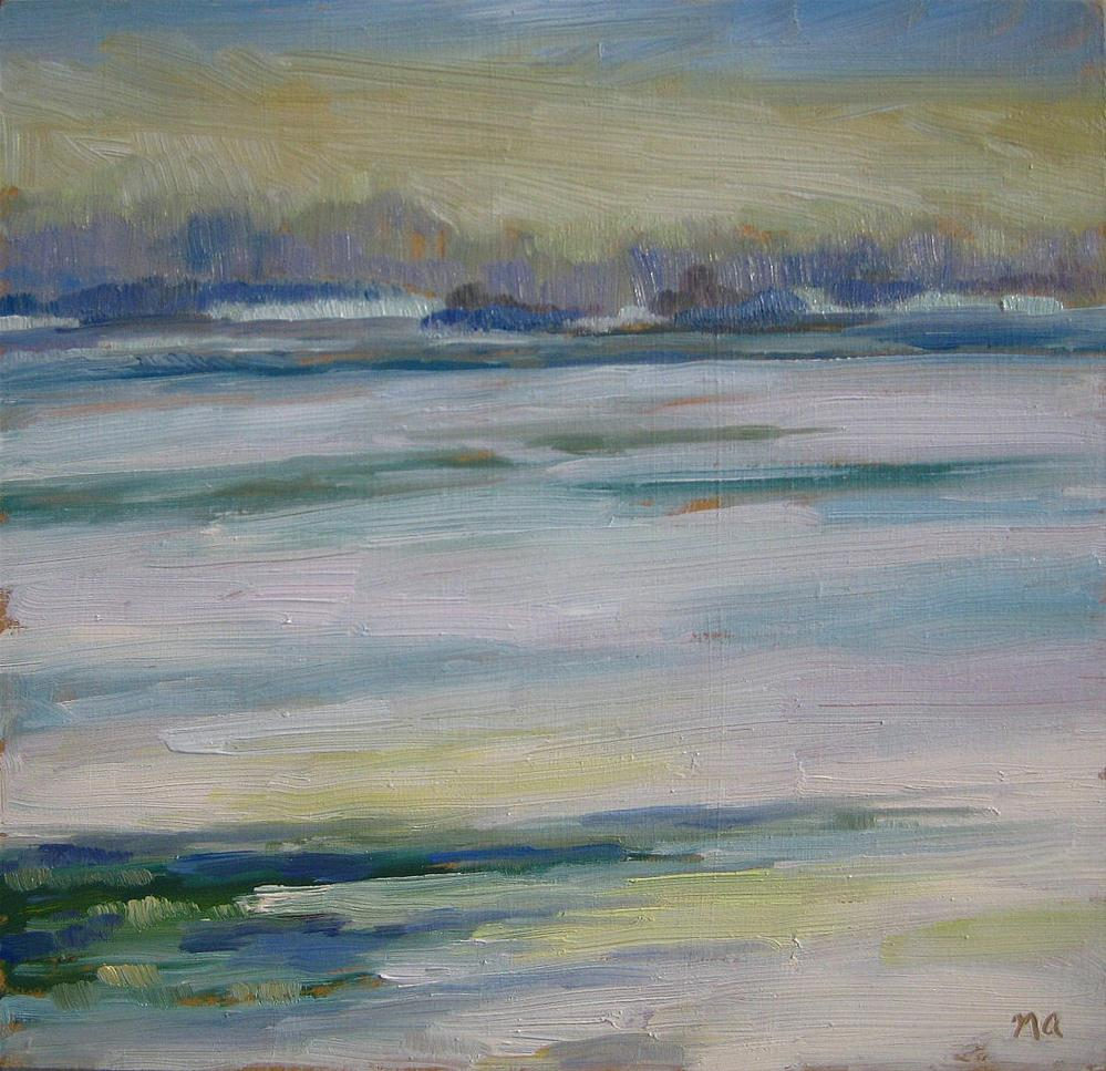 Fog and Ice on the South Saskatchewan original fine art by Nicki Ault