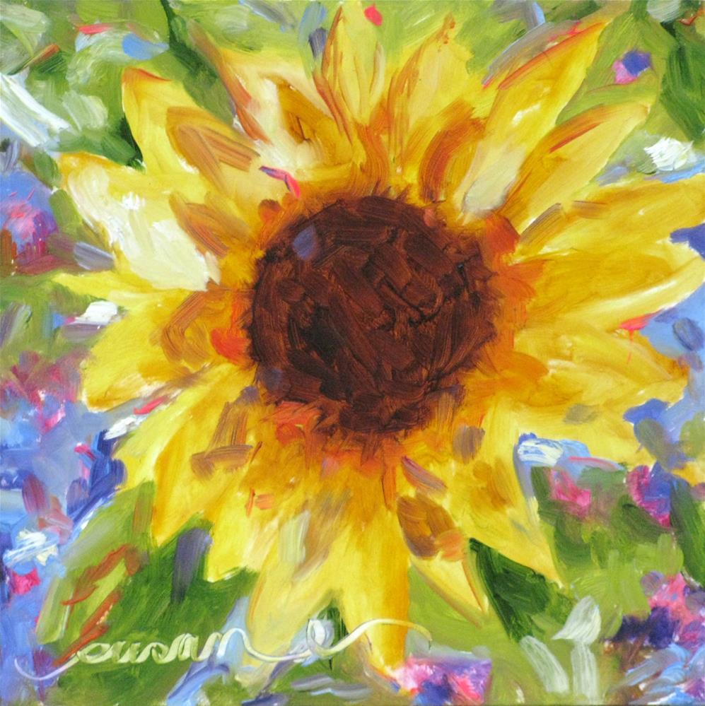 """Sunrise Sunflower"" original fine art by Susan Elizabeth Jones"