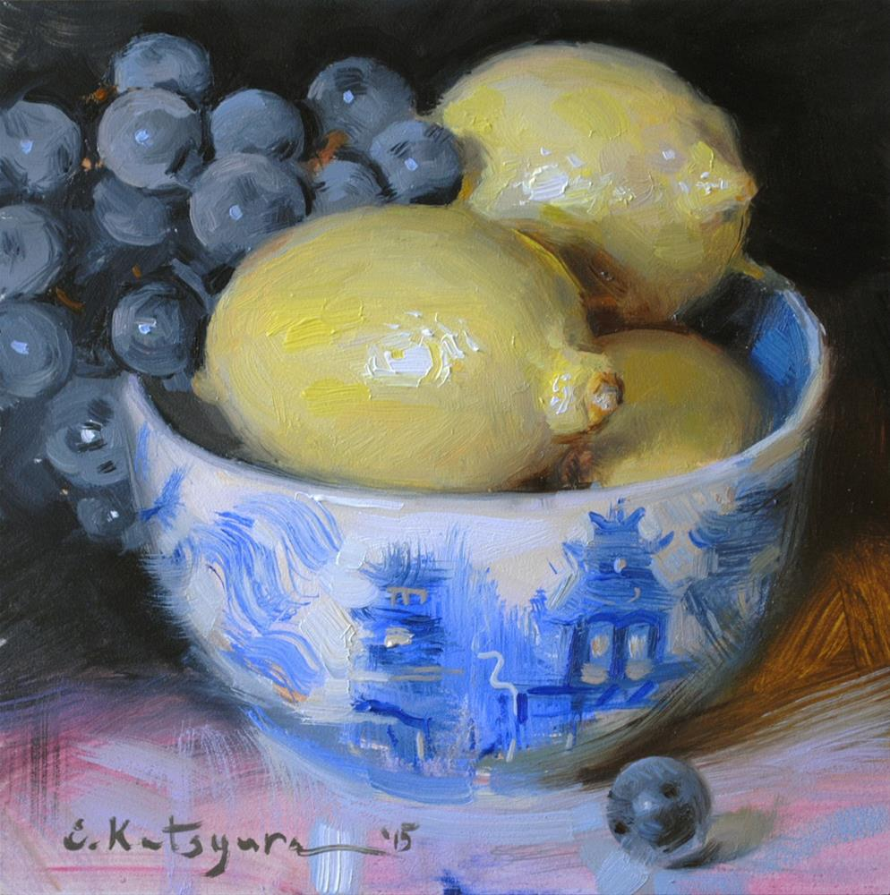 """Blue Bowl of Lemons"" original fine art by Elena Katsyura"