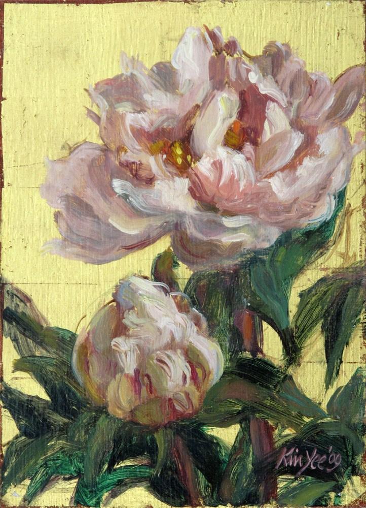 """""""Gilded peonies 1"""" original fine art by Myriam Kin-Yee"""