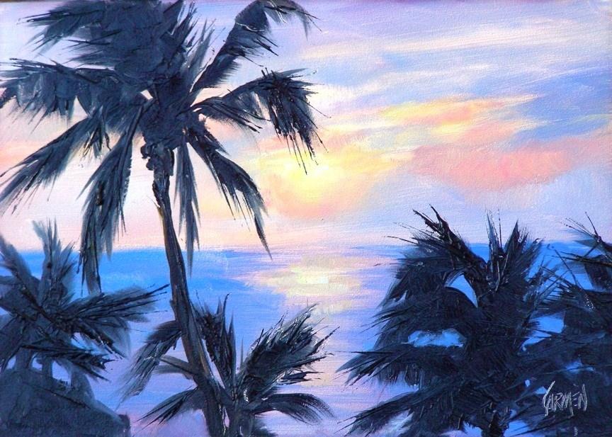 """""""Sunset in Paradise, 5x7 Oil on Canvas Board"""" original fine art by Carmen Beecher"""