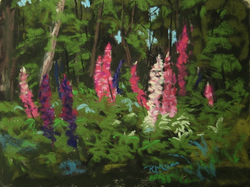 """Lupins in the Wood"" original fine art by Ruth Mann"