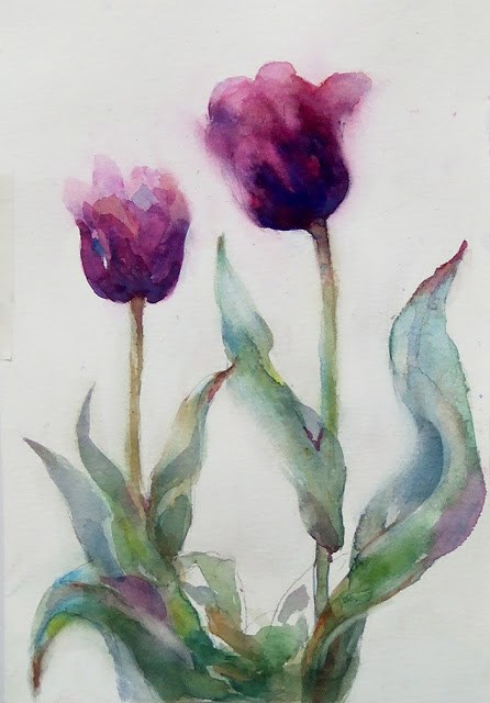 """Exercise/Purple"" original fine art by Mitsuru Cope"