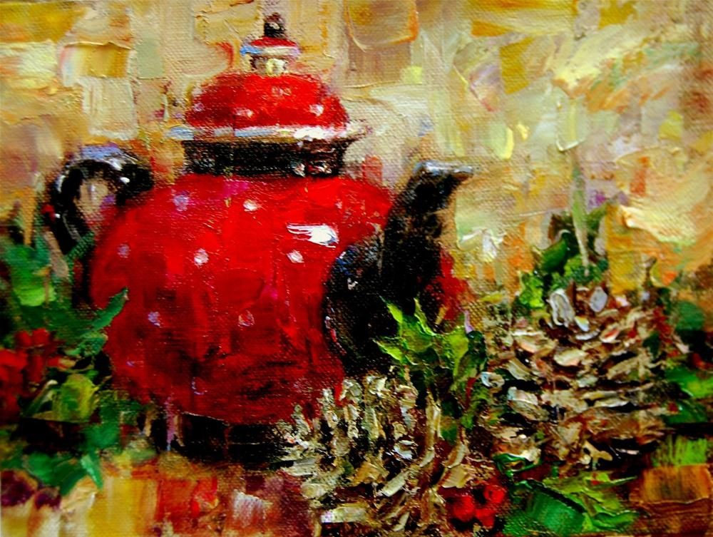 """Tea Pot, Pine Cones and Workshop Images"" original fine art by Julie Ford Oliver"