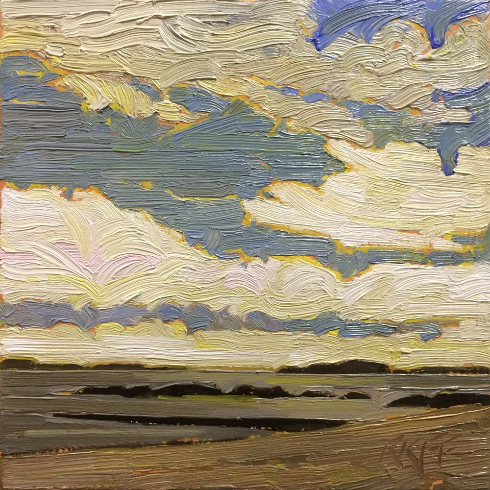 """Willows Beach: 6x6 oil on panel"" original fine art by Ken Faulks"