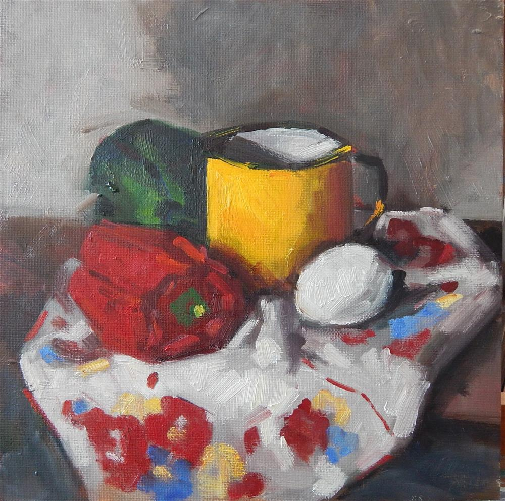 """Still Life in Red, Green and Yellow"" original fine art by Megan Schembre"
